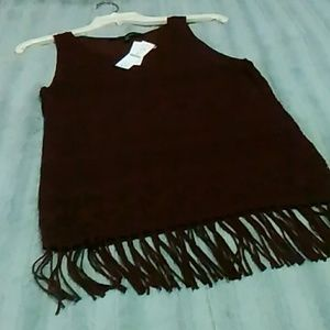 Sweater tank with fringe